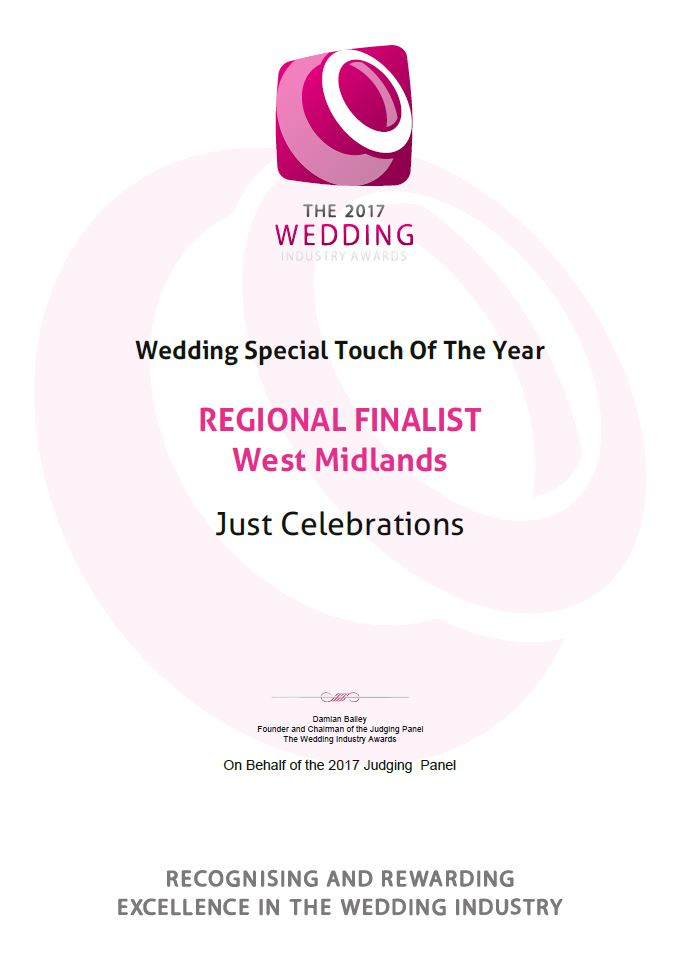 TWIA 2017 Wedding Regional Finalist Award