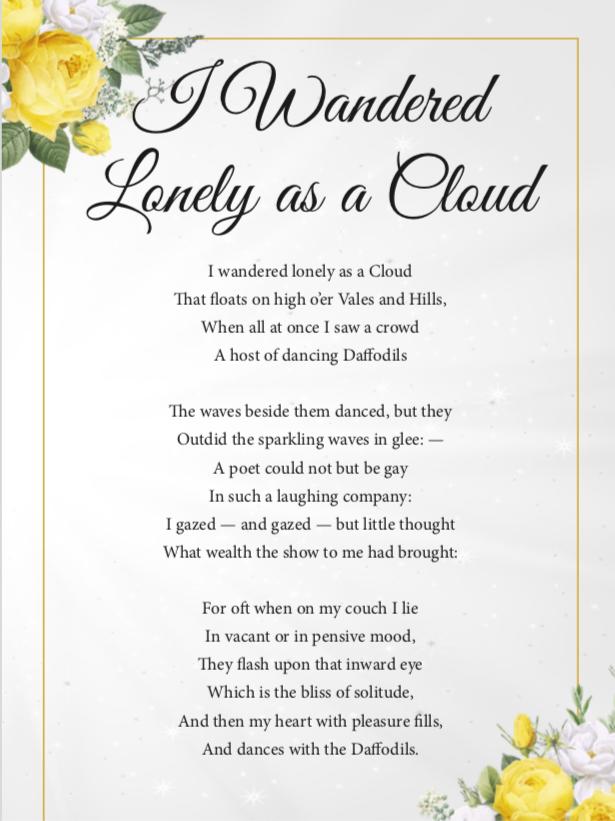 Fred Funeral William Wordsworth Daffodil Poem Just Celebrations Celebrant Justine Wykerd