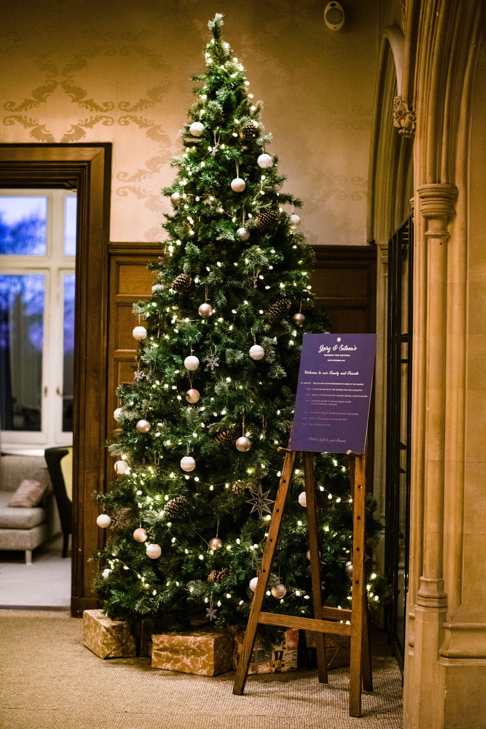 Christmas tree Hampton Manor renewal of vows celebrant ceremony